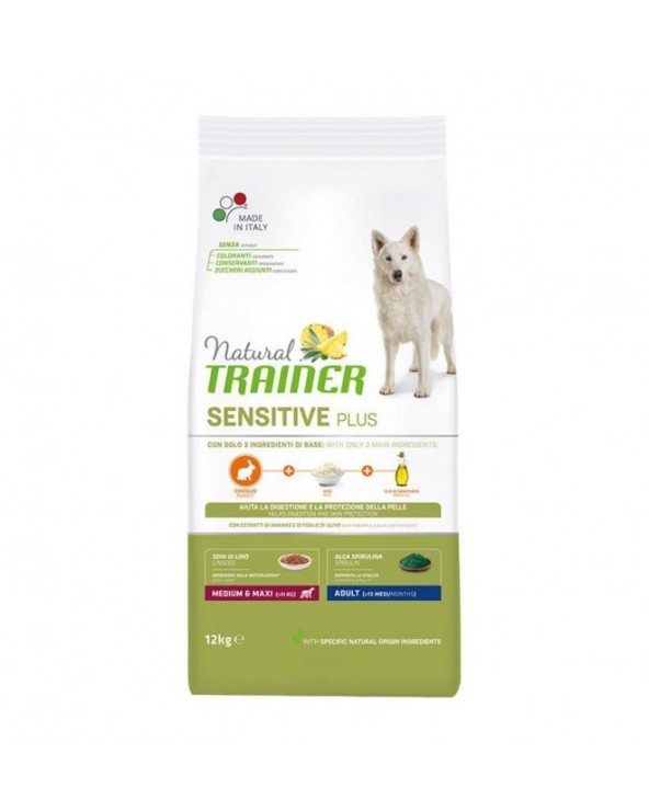 Natural Trainer Sensitive Plus (Ex Fitness 3) Adult Medium Maxi con Coniglio Riso e Olio 12 kg