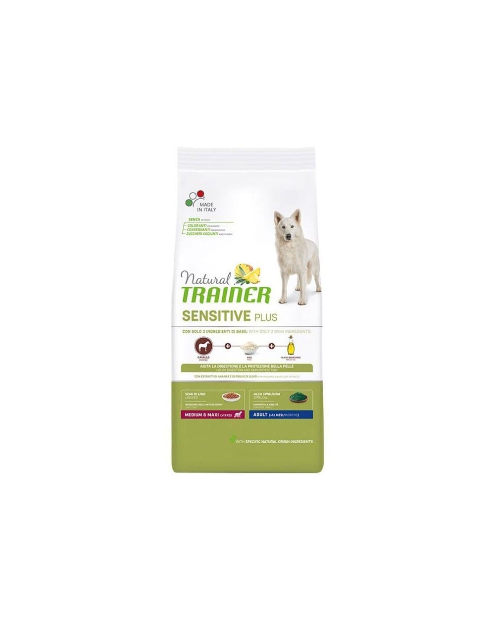 Natural Trainer Sensitive Plus (Ex Fitness 3) Adult Medium Maxi con Cavallo Riso e Olio 3 kg