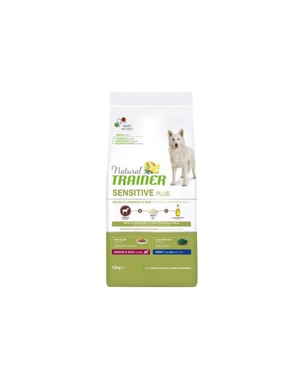 Natural Trainer Sensitive Plus (Ex Fitness 3) Adult Medium Maxi con Cavallo Riso e Olio 12 kg