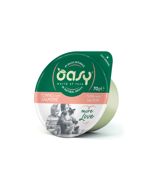 Oasy Cat More Love Tonno con Salmone Cup in Salsa 70 g