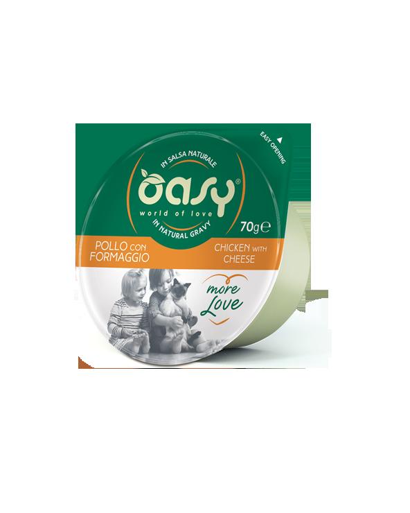 Oasy Wet Cat More Love Green Cup - Pollo con Formaggio