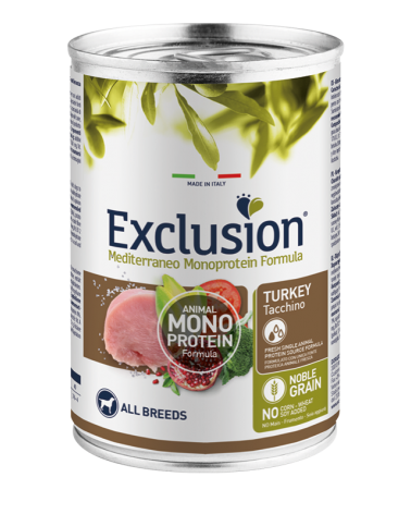 Exclusion Mediterraneo Dog Noble Grain Adult Monoproteico Tacchino All Breeds Patè 400g