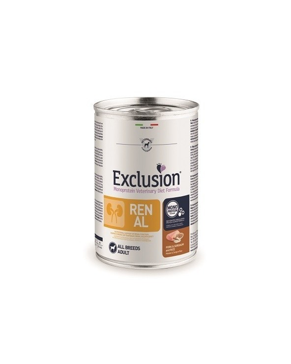 Exclusion Dog Diet Renal Pork e Sorghum All Breeds Patè 400 g