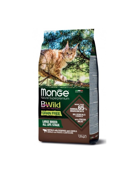 Monge Cat BWild Large Breed All Life Stages con Bufalo Patate e Lenticchie 1.5 kg