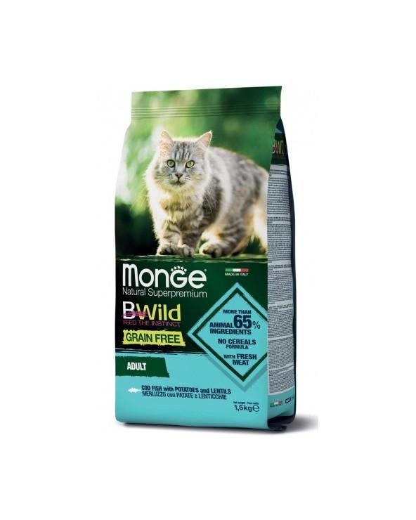 Monge Cat BWild Grain Free Adult con Merluzzo Patate e Lenticchie 1.5 kg