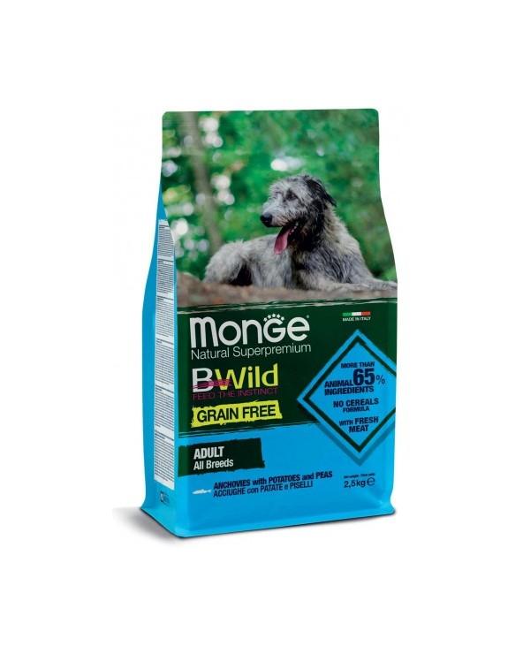 Monge Dog BWild Grain Free Adult All Breed con Acciughe Patate e Piselli 12 kg