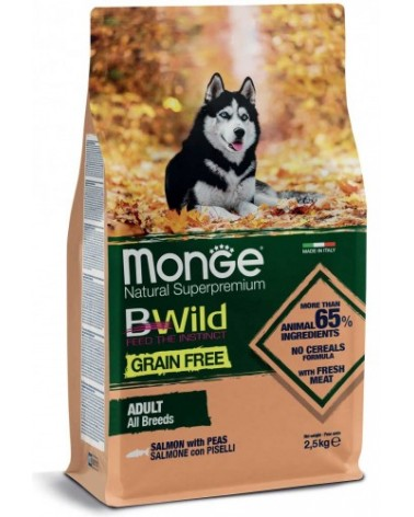 Monge Dog BWild Grain Free Adult All Breed con Salmone e Piselli 12 kg