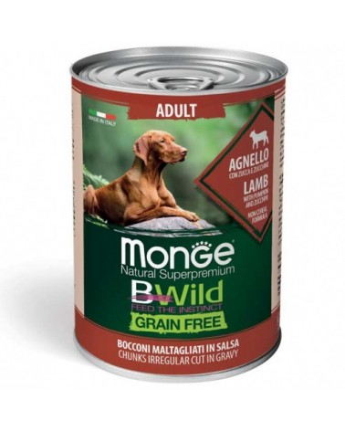Monge Dog BWild Grain Free Adult All Breed con Agnello Zucca e Zucchine Bocconi in Salsa 400 g