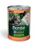 Monge Dog BWild Grain Free Puppy e Junior All Breed con Anatra Zucca e Zucchine Bocconcini in Salsa 400 g