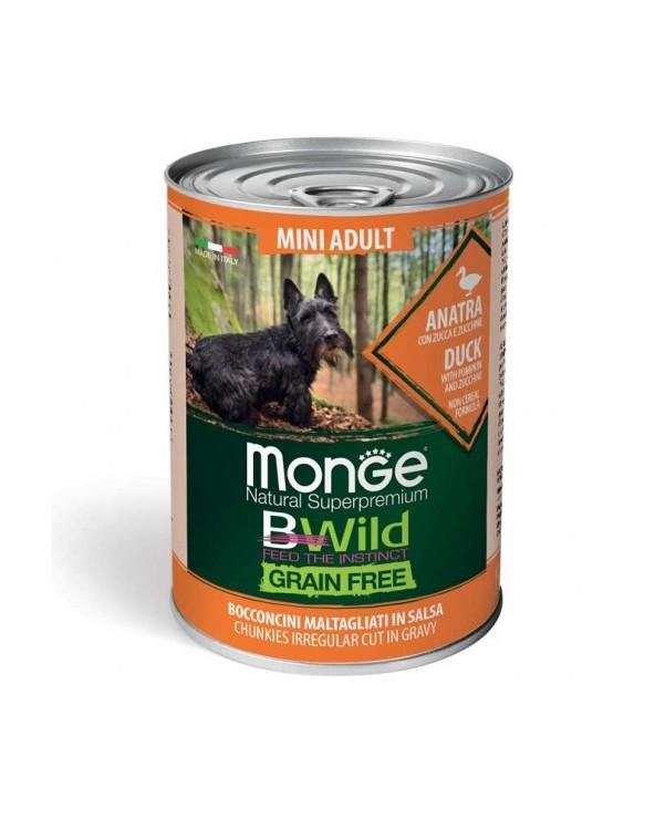 Monge Dog BWild Grain Free Adult Mini con Anatra Zucca e Zucchine Bocconicini in Salsa 400 g