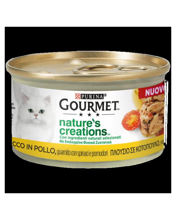 Gourmet Nature's Creations Pollo Guarnito con Spinaci e Pomodori Lattina 85 g