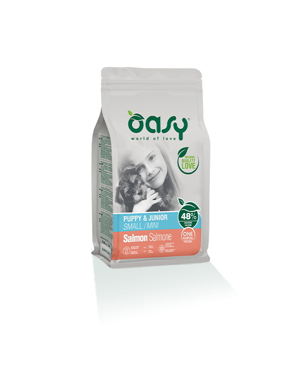 Oasy Dog OAP Puppy e Junior Small Mini Salmone 800 g