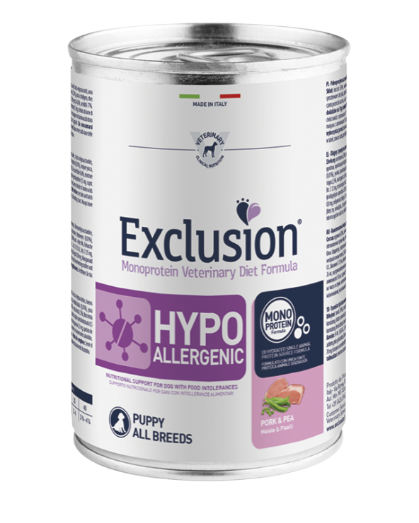 Exclusion Cane Diet Hypoallergenic Puppy e Junior Maiale e Piselli All Breeds Patè 400 g