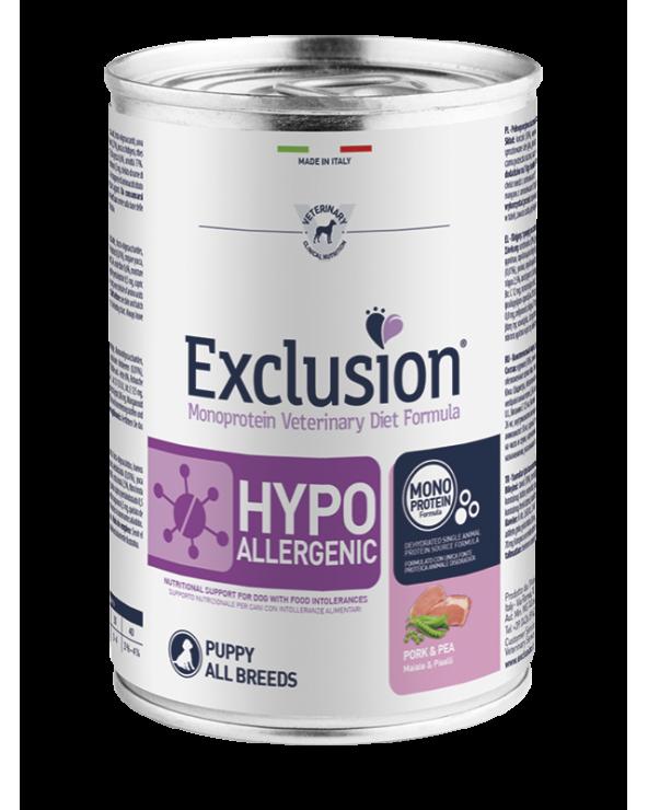 Exclusion Cane Diet Hypoallergenic Puppy e Junior Maiale e Piselli All Breeds Patè 400 g