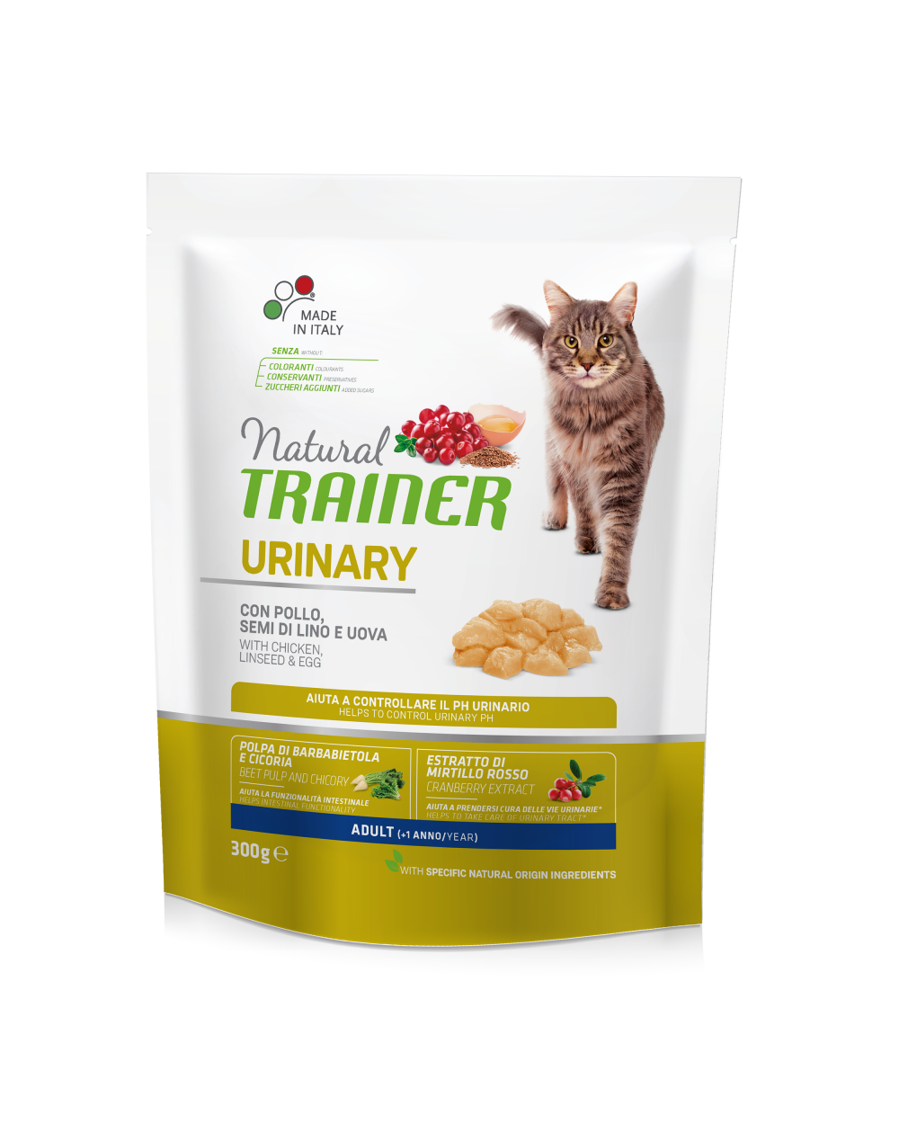 NAtural Trainer Cat Urinary Adult con Pollo Semi di Lino e Uova 300 g