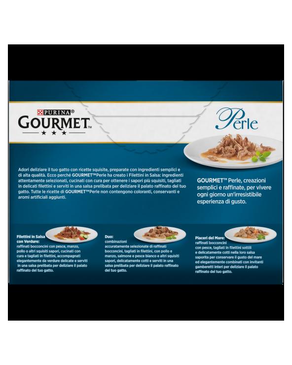 Gourmet Perle Filettini in Salsa con Tacchino, Tonno, Anatra, Agnello 12 x 85 g