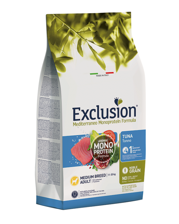 Exclusion Mediterraneo Noble Grain Adult Tonno Taglia Media 12 kg