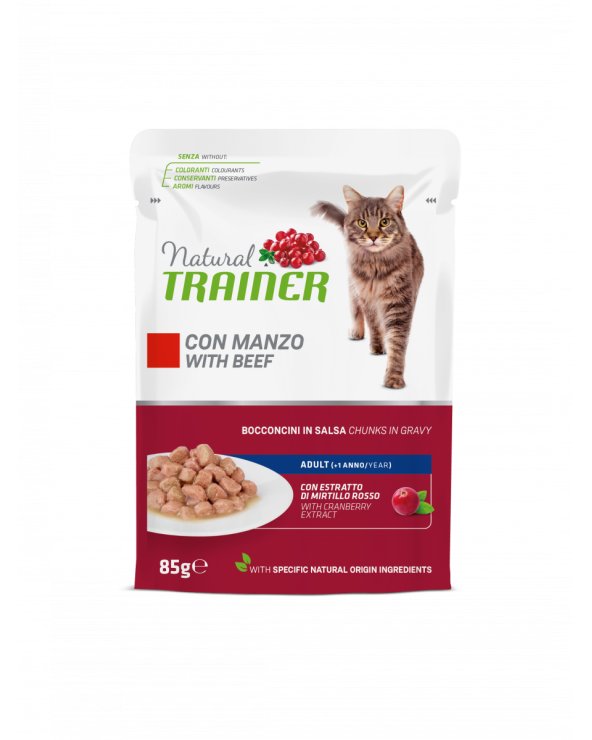 Natural Trainer Cat Adult con Manzo Bocconcini in Salsa 85 g