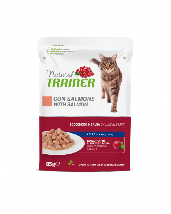 Natural Trainer Cat Adult con Salmone Bocconcini in Salsa 85 g
