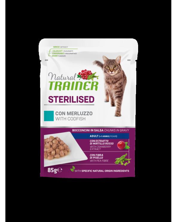 Natural Trainer Cat Adult Sterilised con Merluzzo Bocconcini in Salsa 85 g