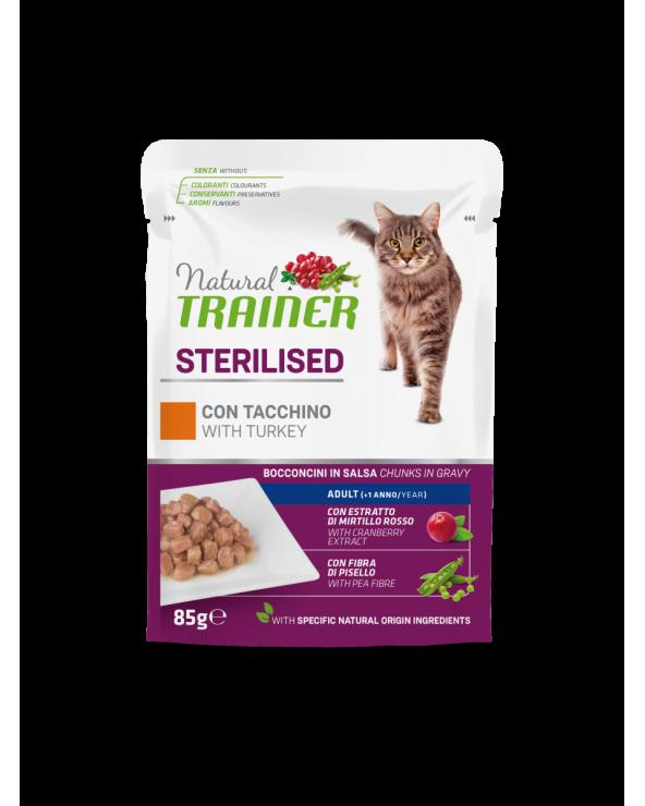 Natural Trainer Cat Adult Sterilised con Tacchino Bocconcini in Salsa 85 g