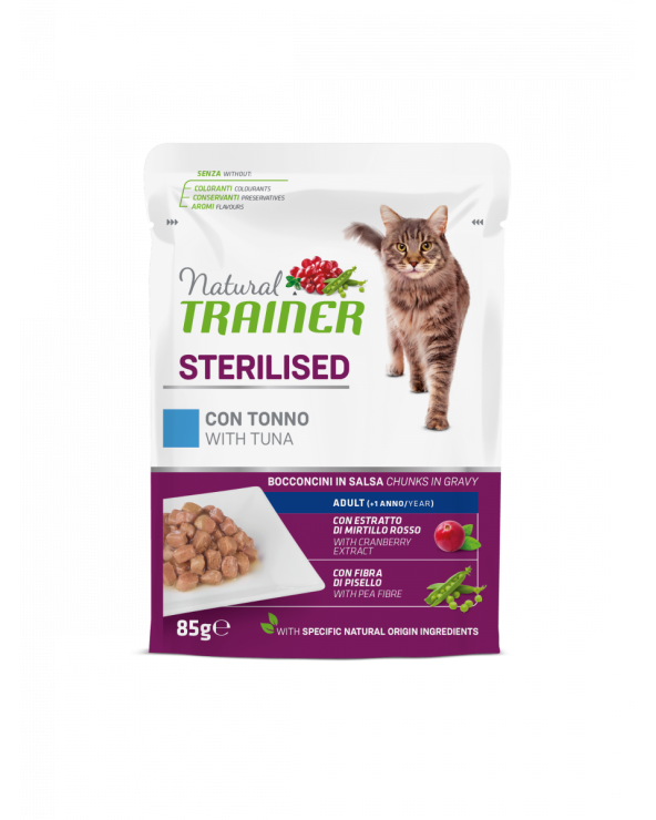 Natural Trainer Cat Adult Sterilised con Tonno Bocconcini in Salsa 85 g