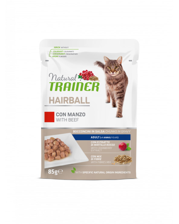 Natural Trainer Cat Adult Hairball con Manzo Bocconcini in Salsa 85 g