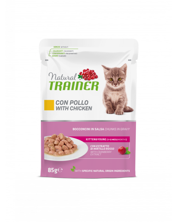 Natural Trainer Cat Adult Ideal Weight con Merluzzo Bocconcini in Salsa 85 g