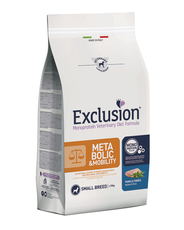 Exclusion Metabolic e Mobility Diet Monoproteico Maiale e Fibre Adult Small Breed 2 kg
