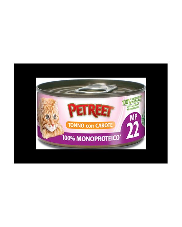 Petreet Natura 100% Monoproteico MP22 Tonno con Carote Lattina 60 g
