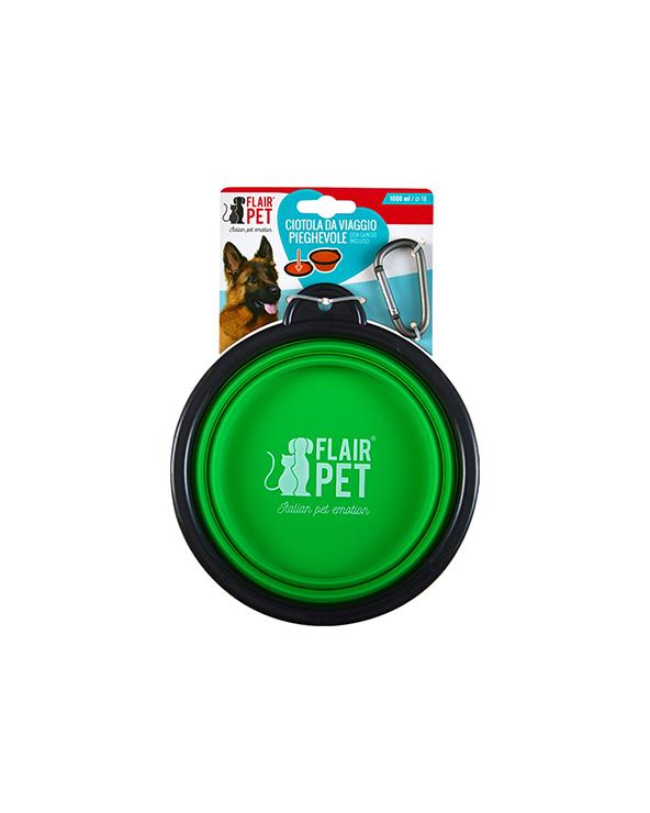 Flair Pet Ciotola da Viaggio in Silicone Pieghevole con Gancio Large - Vari Colori