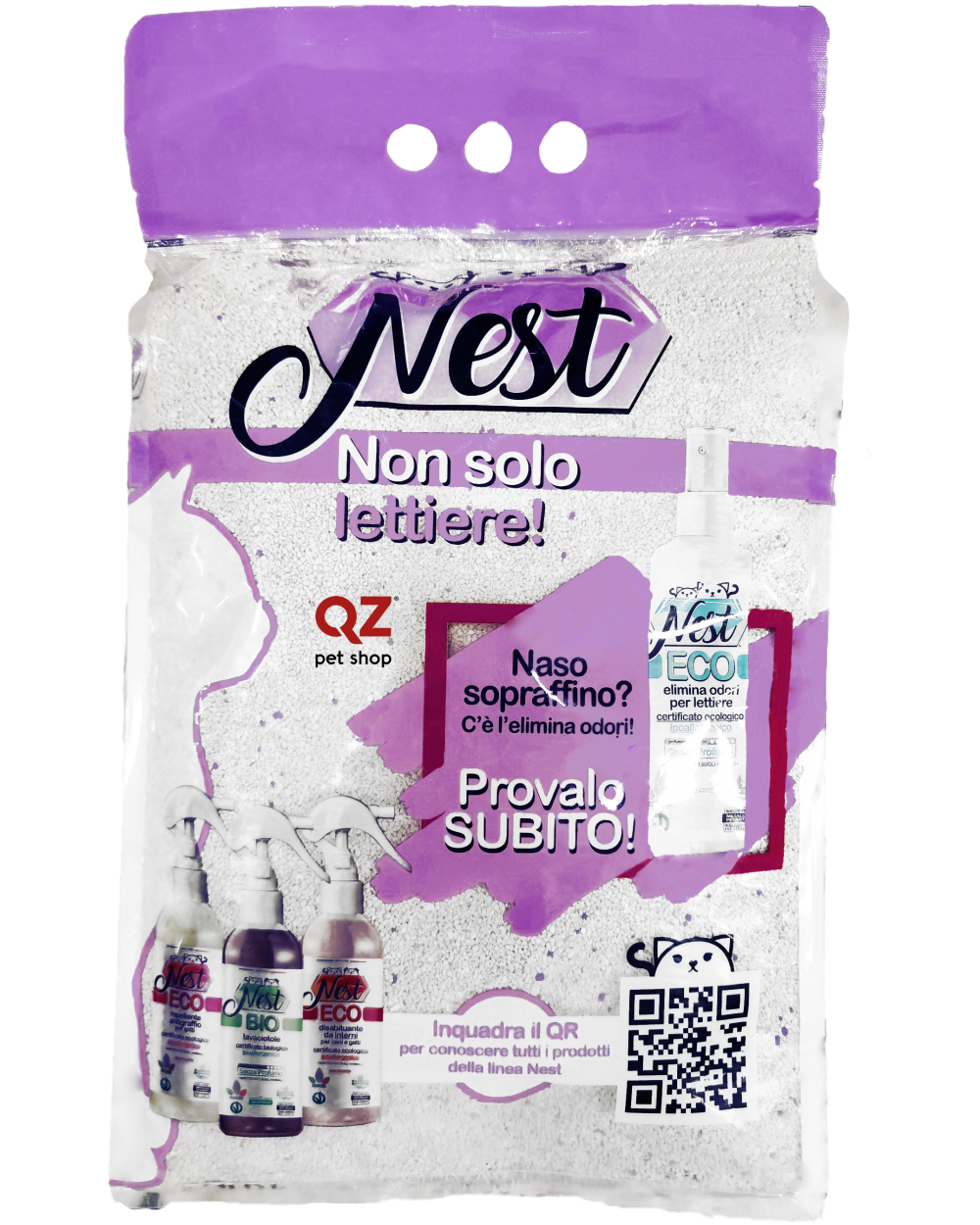 Nest White Litter Lettiera Agglomerante Depolverizzata in Bentonite Profumata alla Lavanda10 lt