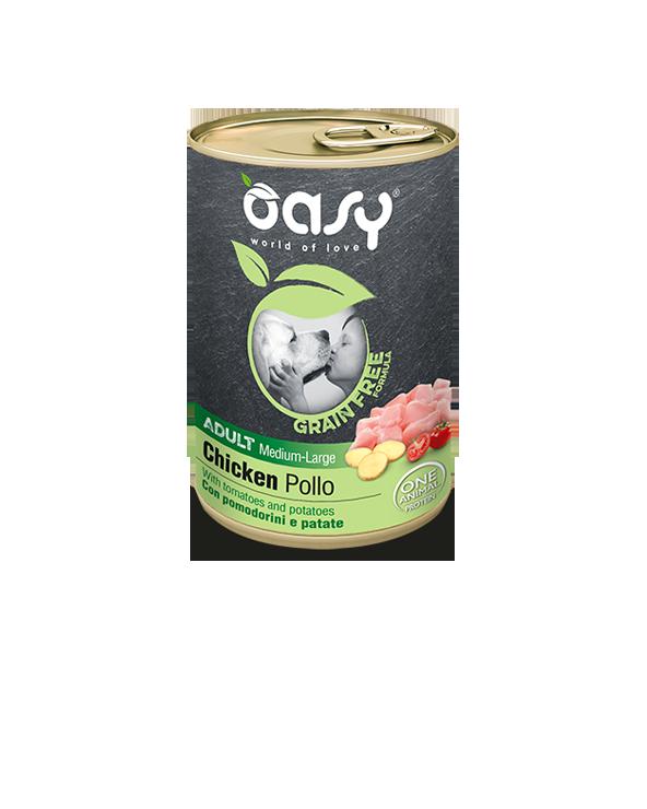 Oasy Dog Grain Free Adult Medium Large Monoproteico Pollo Pomodorini e Patate Lattina 400 g