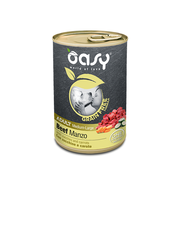 Oasy Dog Grain Free Adult Medium Large Monoproteico Manzo Zucchine e Carote Lattina 400 g