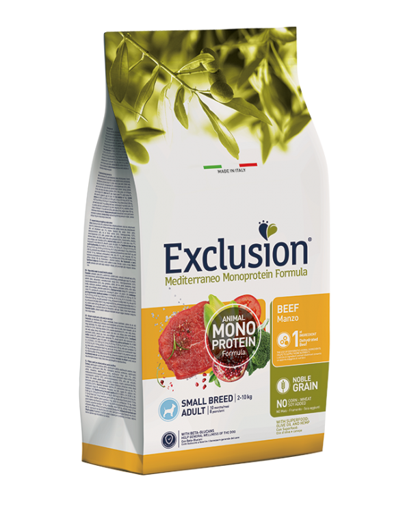 Exclusion Mediterraneo Dog Noble Grain Adult Small Monoproteico Manzo 2 kg