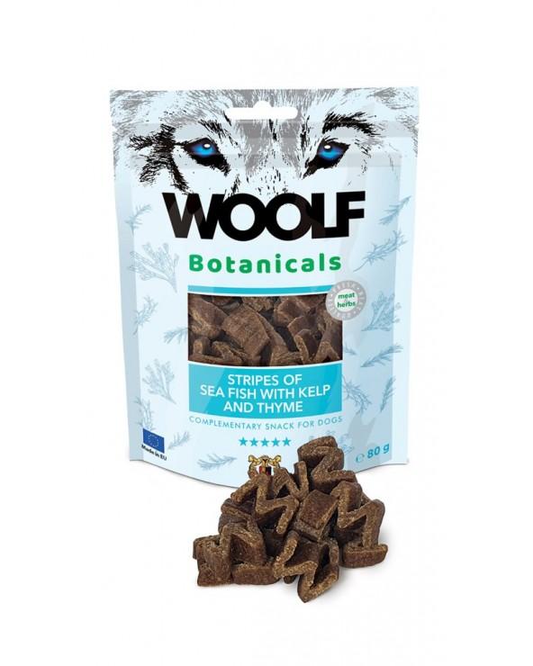 Woolf Snack Botanicals Strisce di Pesce Oceanico Alga Kelp e Timo 80g