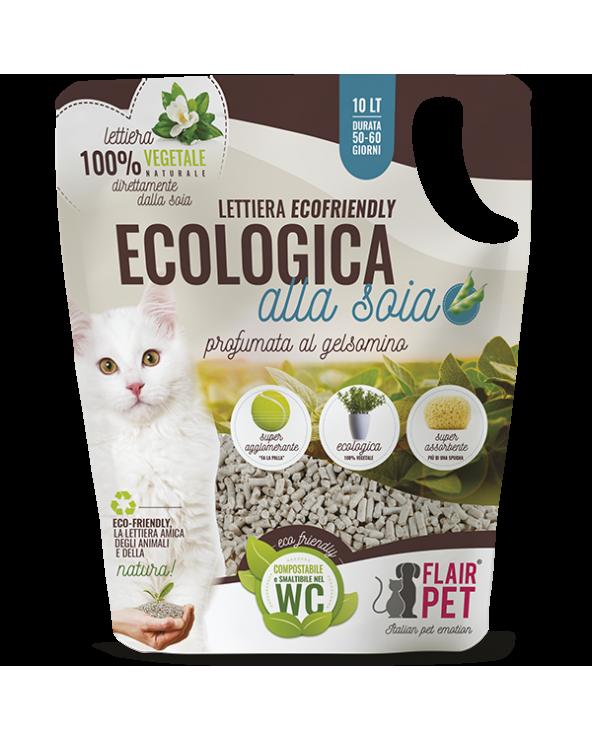 Flair Pet Lettiera per Gatti Agglomerante Vegetale Biodegradabile alla Soia in Pellet Profumata al Gelsomino 10 Lt