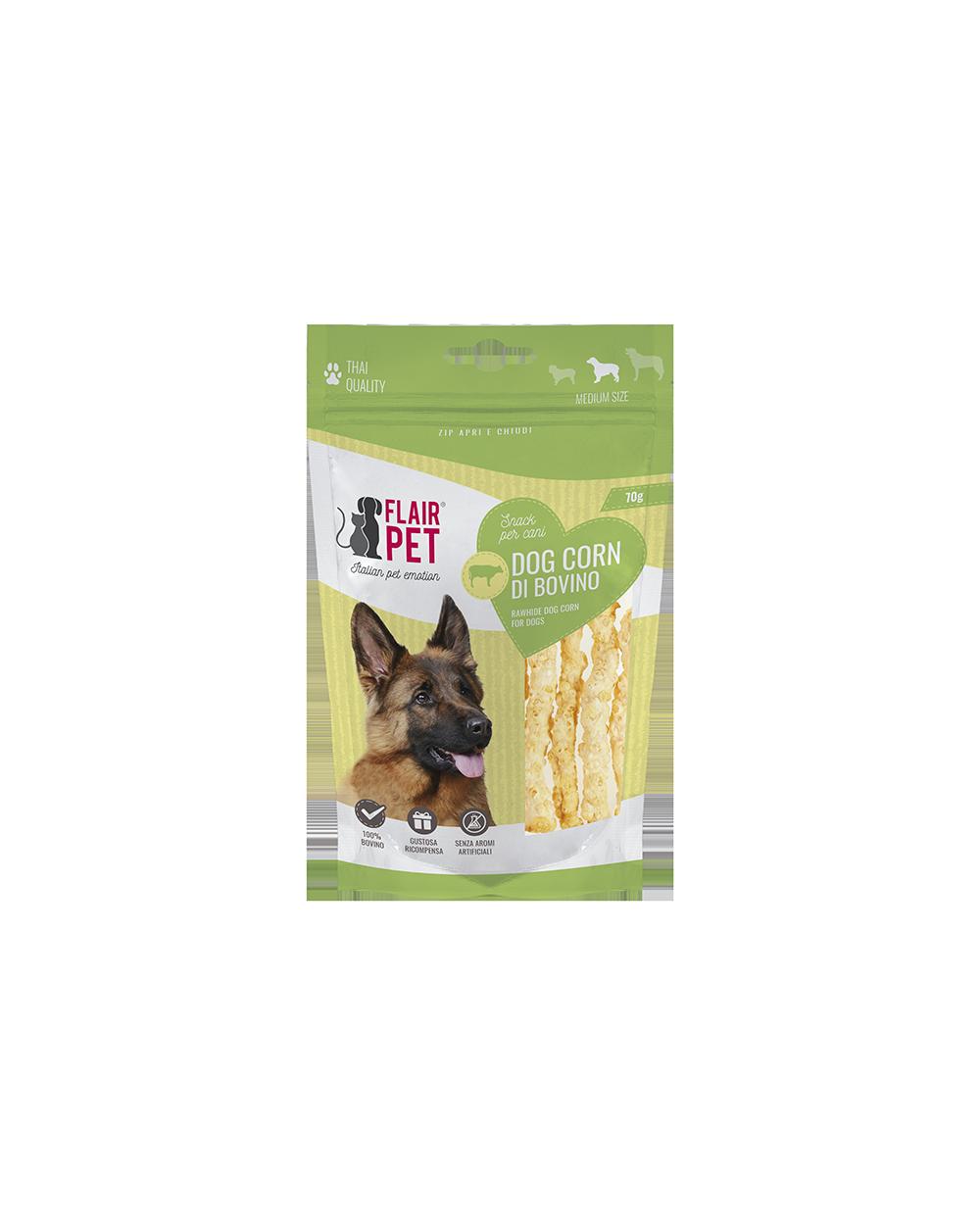 Flair Pet Snack per Cani Bastoncini in Pelle Bovina Croccanti 70g
