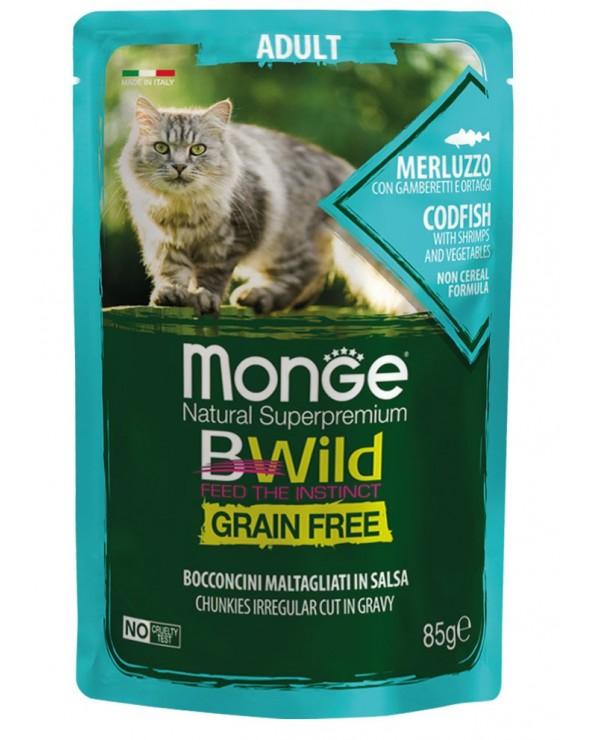 Monge Cat BWild Adult Bocconcini Maltagliati in Salsa con Merluzzo Gamberetti e Ortaggi Bustina 85 g