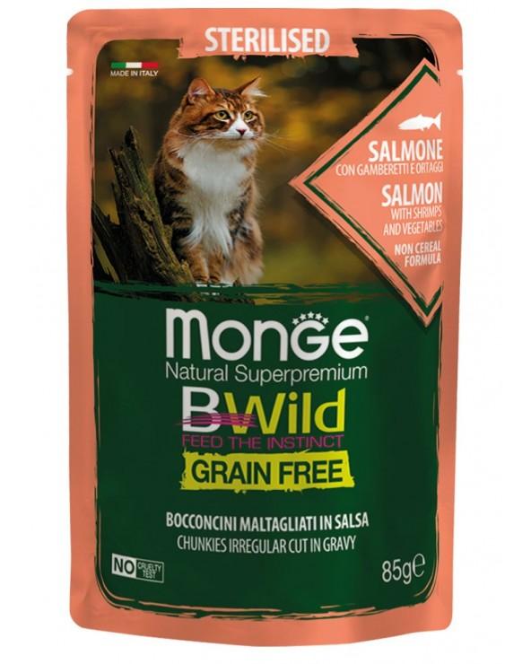 Monge Cat BWild Adult Sterilized Bocconcini Maltagliati in Salsa con Salmone Gamberetti e Ortaggi Bustina 85 g