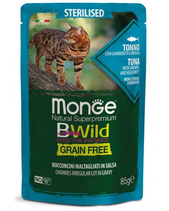 Monge Cat BWild Adult Sterilized Bocconcini Maltagliati in Salsa con Tonno Gamberetti e Ortaggi Bustina 85 g