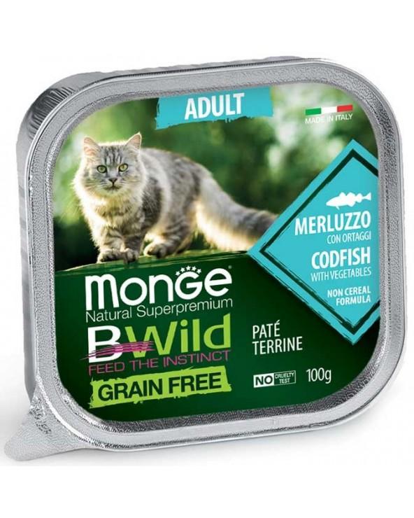 Monge Cat BWild Adult Patè con Merluzzo e Ortaggi Vaschette 100 g