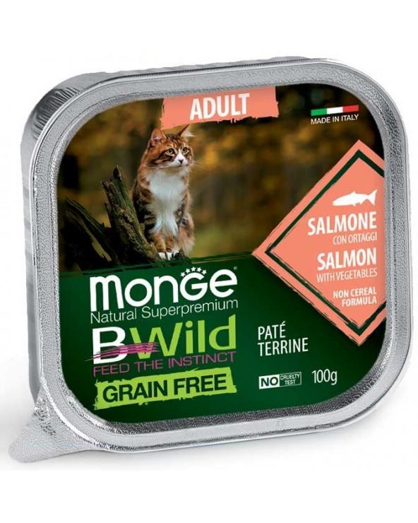 Monge Cat BWild Adult Patè con Salmone e Ortaggi Vaschette 100 g
