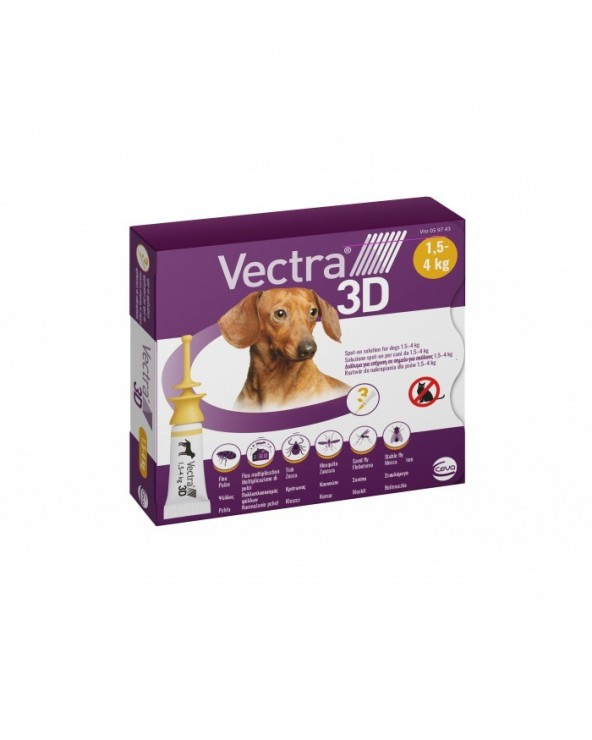 Vectra 3D Spot-on per Cani 1,5 - 4kg - 3 Fiale