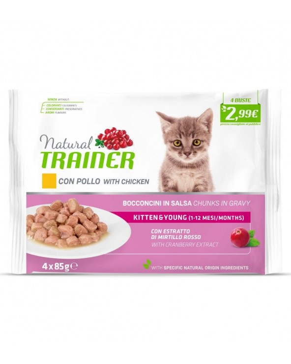 Natural Trainer Cat Kitten e Young con Pollo Bocconcini in Salsa Bustine FlowPack 4x85 g