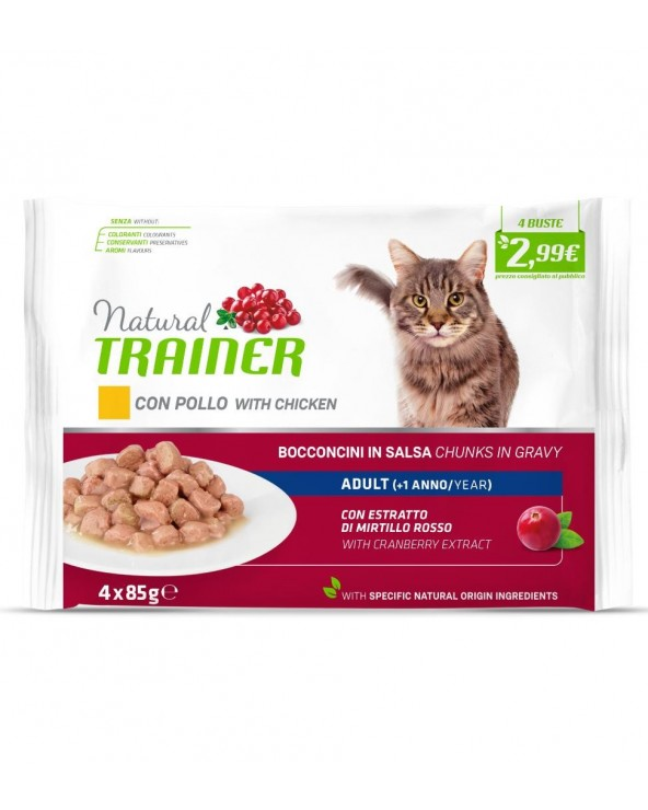 Natural Trainer Cat Adult con Pollo Bocconcini in Salsa Bustine FlowPack 4x85 g
