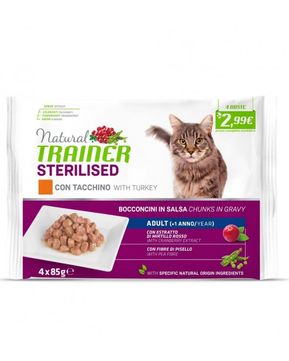 Natural Trainer Cat Adult Sterilised con Tacchino Bocconcini in Salsa Bustine FlowPack 4x85 g