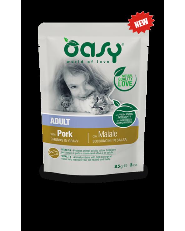 Oasy Cat Bocconcini in Salsa Adult con Maiale 85 g
