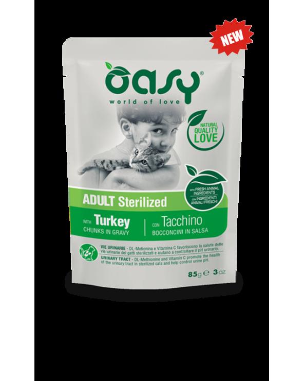 Oasy Cat Adult Sterilized con Salmone Bocconcini in Salsa 85 g