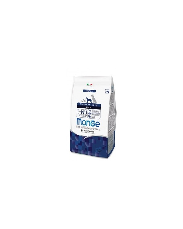 Monge Dog Natural Senior Medium Ricco di Pollo 3kg
